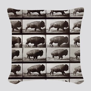 Tiny Buffalo Woven Throw Pillow